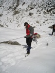 Abseling down the slope, in preps for the real climb