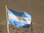 The Argentinian flag representing the sky with the sun in the middle